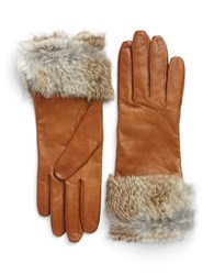 Lord And Taylor Fur Trimmed Leather Gloves Tan