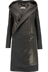 Rick Owens Sequined Wool Blend Felt Hooded Coat Anthracite