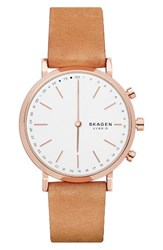 Skagen Women's Hald Hybrid Leather Strap Smart Watch 40Mm Brown White Rose Gold