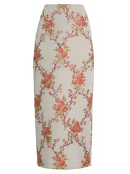 Brock Collection Snow Blossom Jacquard Pencil Skirt Pink Multi