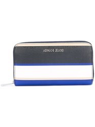 Armani Jeans Striped Zip Around Wallet Women Synthetic Resin Leather One Size Blue