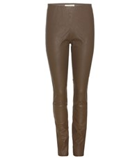 By Malene Birger Elenasoo Slim Leather Trousers Brown