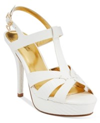 Thalia Sodi Raquell T Strap Platform Dress Sandals Only At Macy's Women's Shoes White Snake