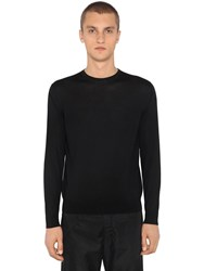 Prada Virgin Wool Crewneck Sweater Black