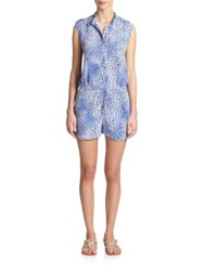 Rebecca Taylor Silk Animal Print Short Jumpsuit Blue Crush