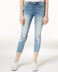American Rag Juniors' Embroidered Ripped Cropped Skinny Jeans Created For Macy's Langston