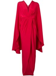Christian Siriano Kimono Wrap Dress Women Silk Crepe 4 Red