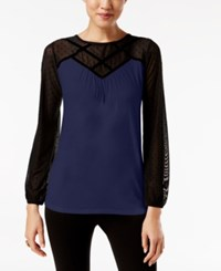 August Silk Colorblocked Illusion Top Evening Blue