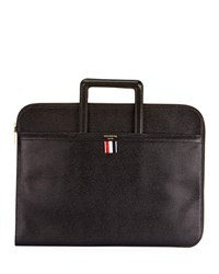 Thom Browne Pebbled Leather Portfolio Case With Handles Black