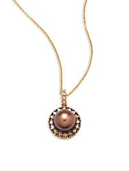 Effy Fresh Water Pearl Diamond Brown Diamond And 14K Yellow Gold Pendant Necklace