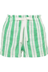 Lemlem Doro Striped Cotton Blend Gauze Shorts Light Green