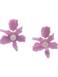 Lele Sadoughi Crystal Lily Earrings Purple