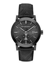 Burberry Men's 42Mm Stainless Steel And Leather City Watch Black