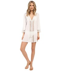 San Diego Hat Company Bst1640 Deep V Neck 3 4 Sleeve Cotton Gauze Tunic Beach Cover Up With Crochet Trim White Women's Blouse