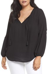 London Times Plus Size Women's Peasant Blouse Black