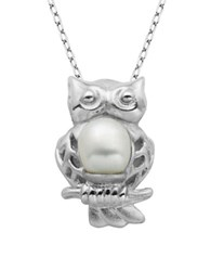 Lord And Taylor 6Mm Freshwater Pearl Owl Pendant Necklace White Pearl