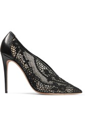 Valentino Leather Trimmed Guipure Lace Pumps Black