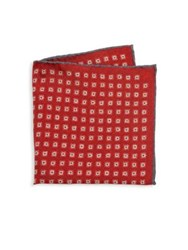 Isaia Medallion Patterned Pocket Square Red