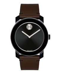 Movado 42Mm Bold Watch With Leather Strap Brown Black Brown Black