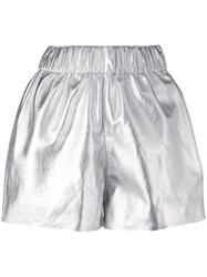 Manokhi Pull On Leather Shorts Silver