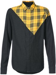 Mostly Heard Rarely Seen Asymmetric Check Patch Shirt Cotton Black