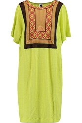 M Missoni Tulle Paneled Linen Dress Yellow