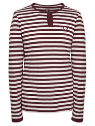 Pretty Green Long Sleeve Redmond Grandad Burgundy
