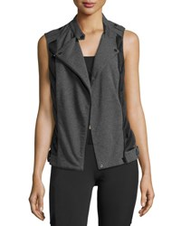 Blanc Noir Quilted Inset Moto Athletic Vest Black Gray Black Gray