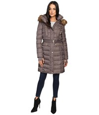 Vince Camuto Belted Faux Fur Trim Wool Coat Removable Hood And Trim L1571 Dark Taupe Women's Coat