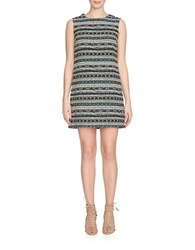 Cynthia Steffe Courtney Geometric Jacquard Shift Dress Surf Teal