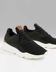 383ca2803 Bershka Chunky Sole Trainer In Black With Brown Detailing