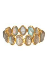 Gold Plated Sterling Silver Labradorite Stackable Ring Gray