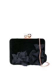 Sophia Webster Flower Applique Clutch Black