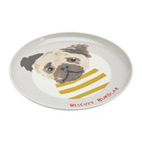 Joules Mischievous Mutts Side Plate Grey Dog