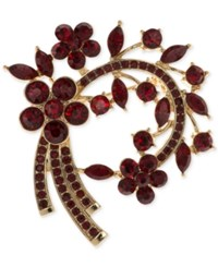 Anne Klein Stone And Pave Arched Floral Pin Only At Macy's Red