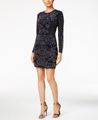 Xscape Evenings Beaded Long Sleeve Bodycon Dress Navy