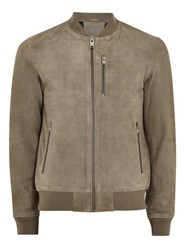 Selected Stone Homme Grey Suede Bomber Jacket
