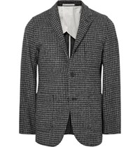 Beams Plus Slim Fit Houndstooth Harris Wool Tweed Blazer Dark Gray