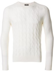 Barba Cable Knit Jumper Virgin Wool White