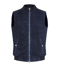 Stefano Ricci Suede Crocodile Trim Gilet Male Blue