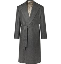 Camoshita Vitale Barberis Canonico Belted Puppytooth Wool Coat Gray