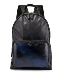 Berluti Time Off Mesh Back Leather Backpack Navy
