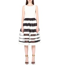 Alice Olivia Larue Silk And Satin Blend A Line Dress Black White
