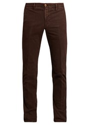 Incotex Slim Leg Micro Weave Cotton Blend Chino Trousers Burgundy