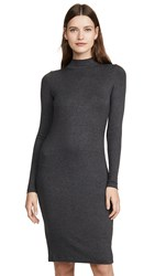 Goldie Ribbed Mock Neck Dress Charcoal Heather