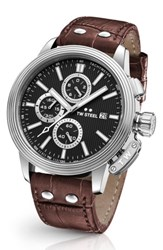 Tw Steel Men's Ceo Adesso Chronograph Leather Strap Watch 48Mm Brown Black Silver