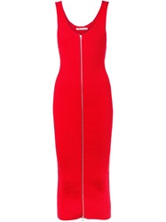 T By Alexander Wang Ribbed Tank Dress Red