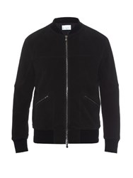 Raey Brushed Leather Bomber Jacket Black