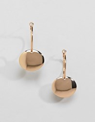 Monki Drop Circle Hoop Earrings Gold