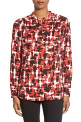 Classiques Entier Mandarin Collar Print Stretch Silk Blouse Regular And Petite Red